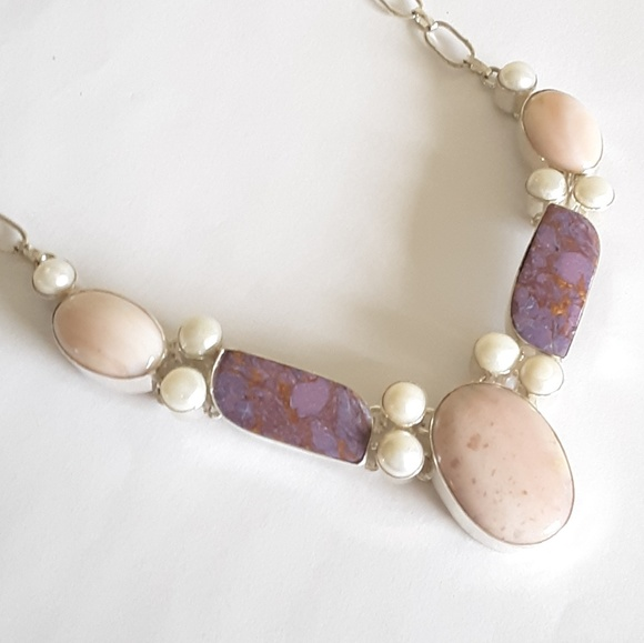 Jewelry - Sterling silver pink opal turquoise necklace